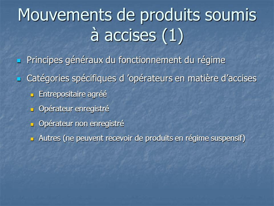 Mouvements de produits soumis à accises (1)