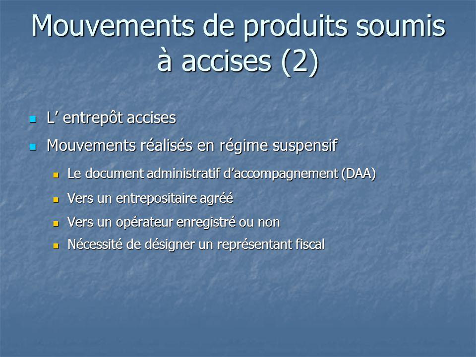 Mouvements de produits soumis à accises (2)