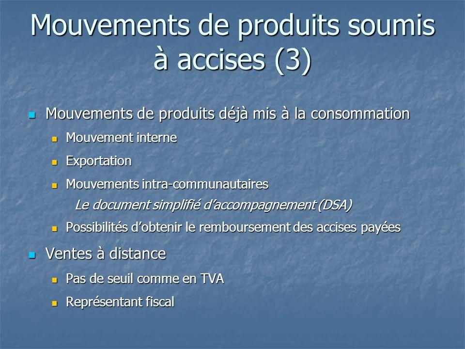Mouvements de produits soumis à accises (3)