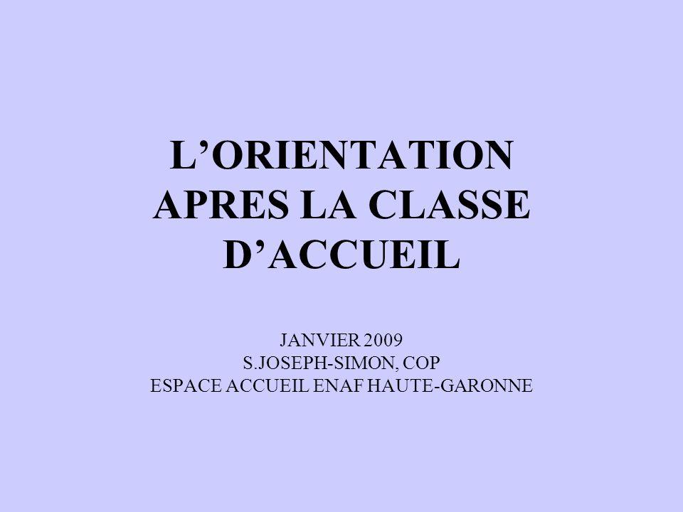 L'ORIENTATION APRES LA CLASSE D'ACCUEIL JANVIER 2009 S