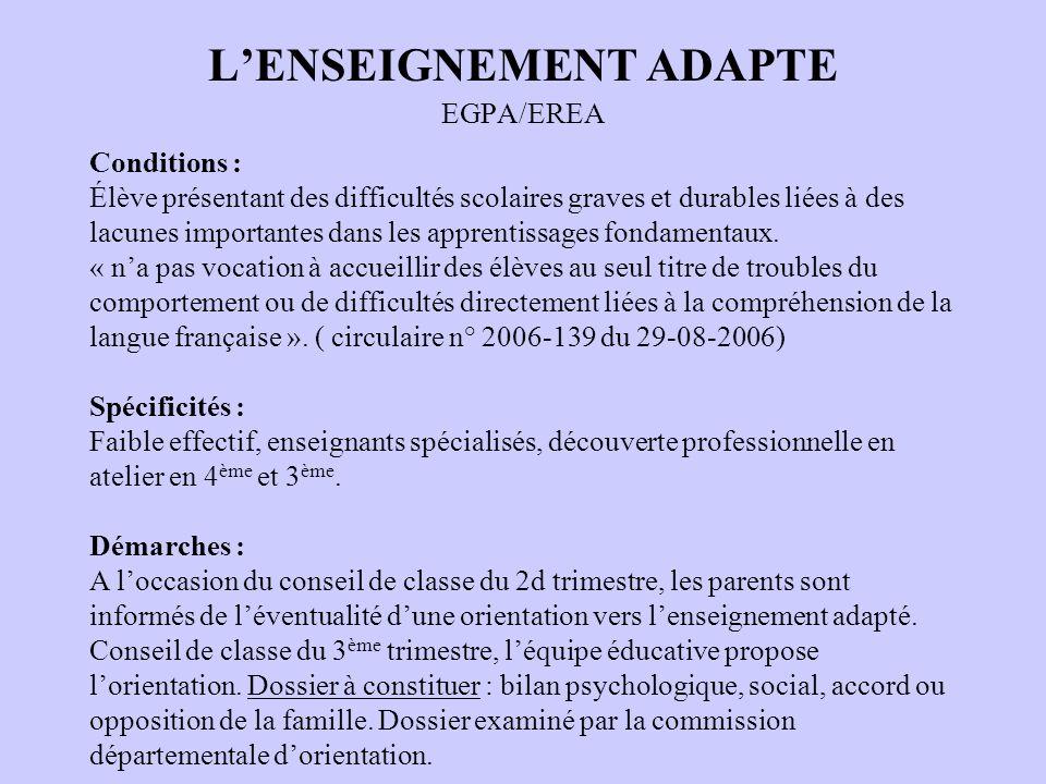 L'ENSEIGNEMENT ADAPTE EGPA/EREA