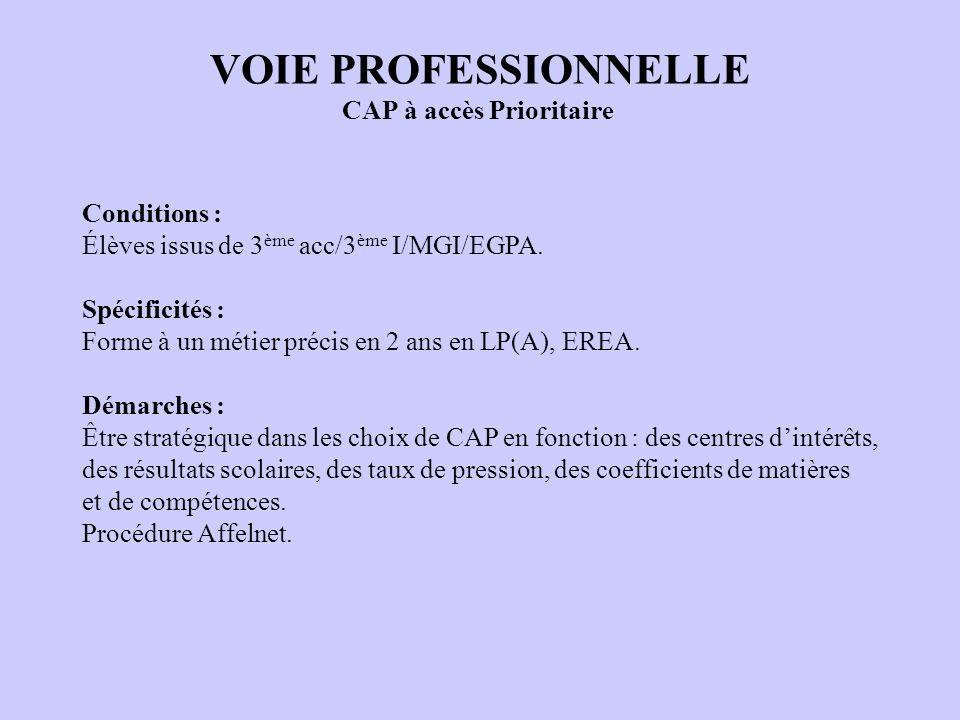 VOIE PROFESSIONNELLE CAP à accès Prioritaire