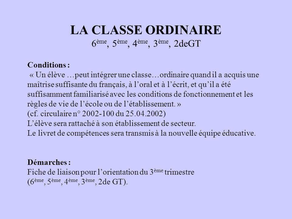 LA CLASSE ORDINAIRE 6ème, 5ème, 4ème, 3ème, 2deGT