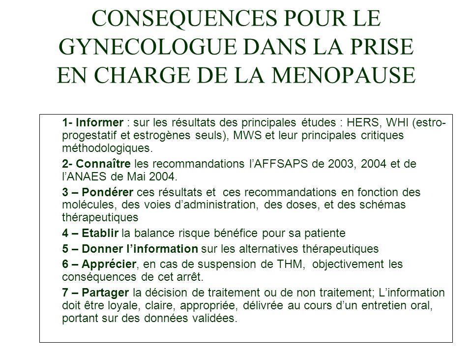 CONSEQUENCES POUR LE GYNECOLOGUE DANS LA PRISE EN CHARGE DE LA MENOPAUSE
