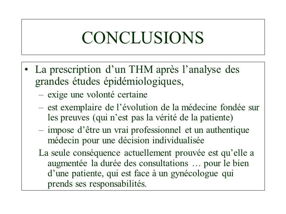 CONCLUSIONS La prescription d'un THM après l'analyse des grandes études épidémiologiques, exige une volonté certaine.