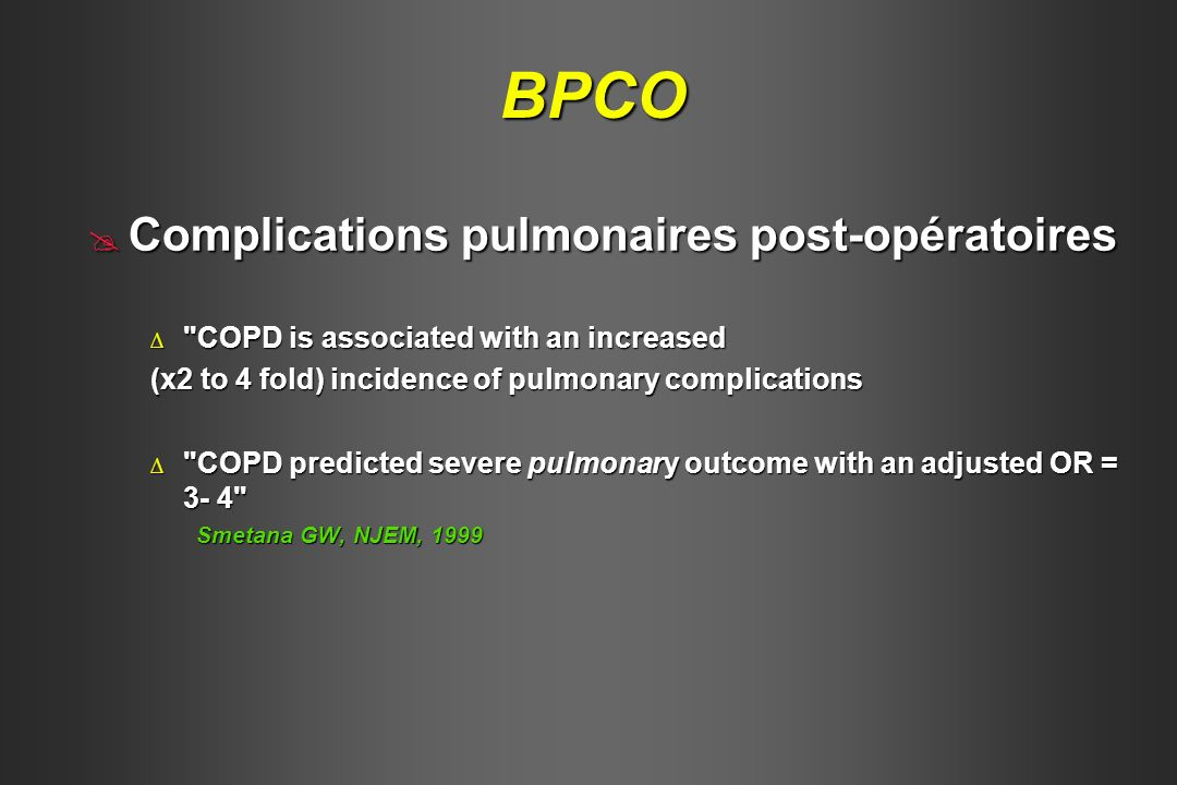 BPCO Complications pulmonaires post-opératoires