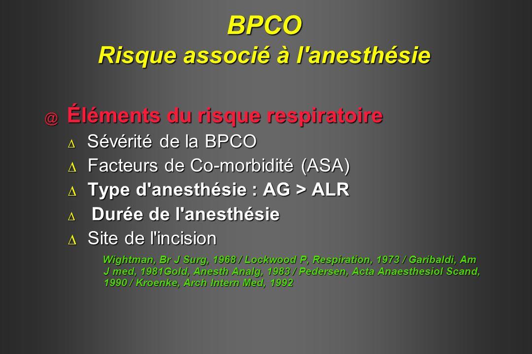 BPCO Risque associé à l anesthésie