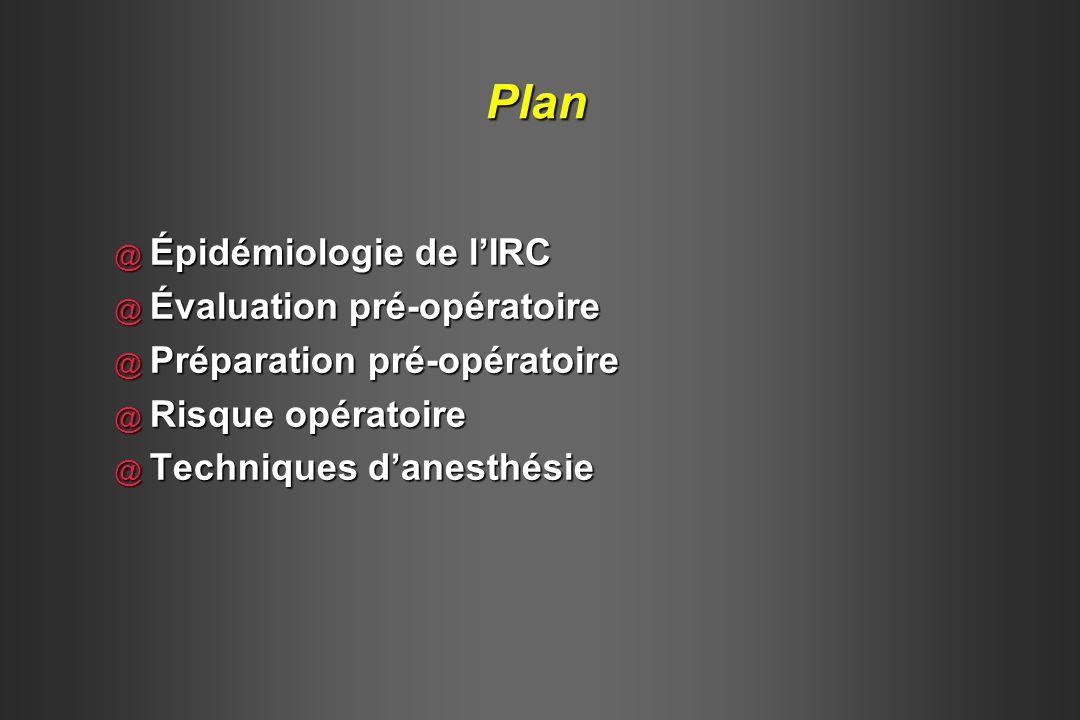 Plan Épidémiologie de l'IRC Évaluation pré-opératoire