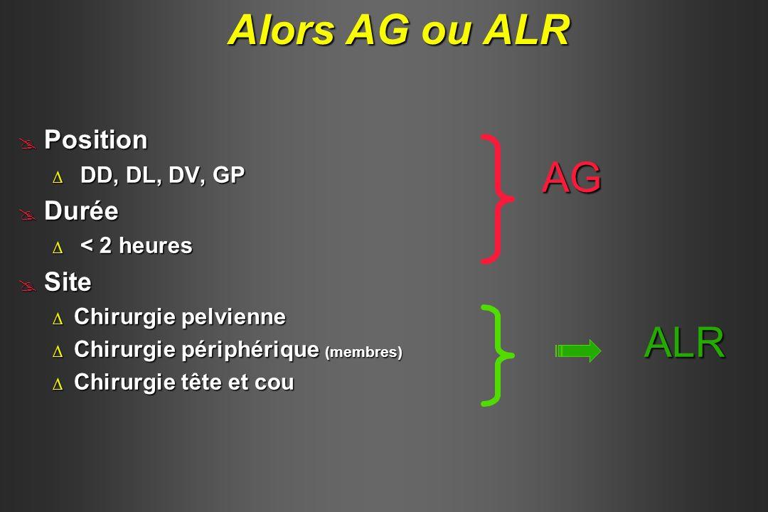 Alors AG ou ALR AG ALR Position Durée Site DD, DL, DV, GP