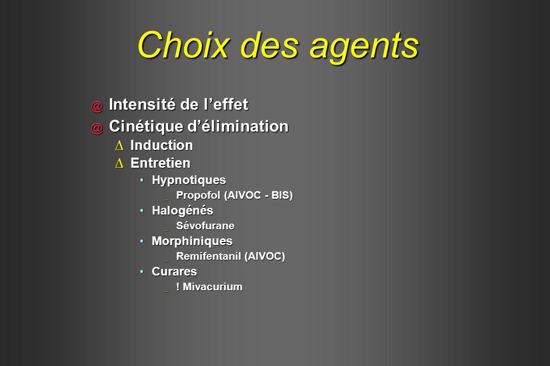 Choix des agents Intensité de l'effet Cinétique d'élimination