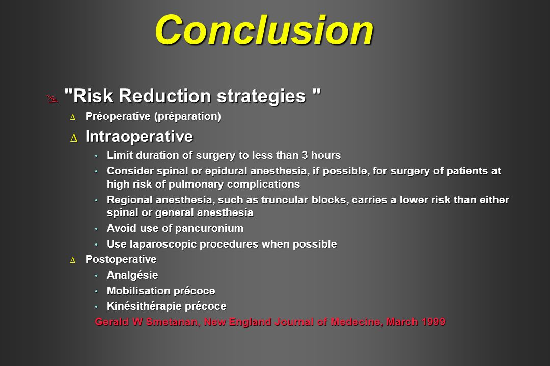 Conclusion Risk Reduction strategies Intraoperative