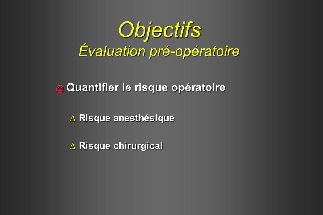 Objectifs Évaluation pré-opératoire