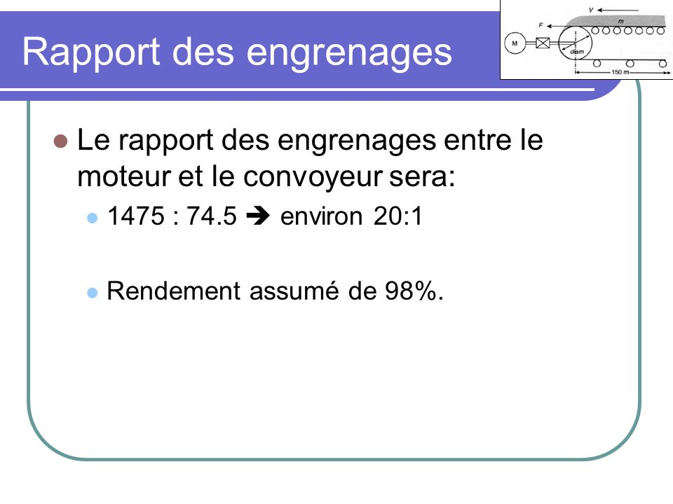 Rapport des engrenages