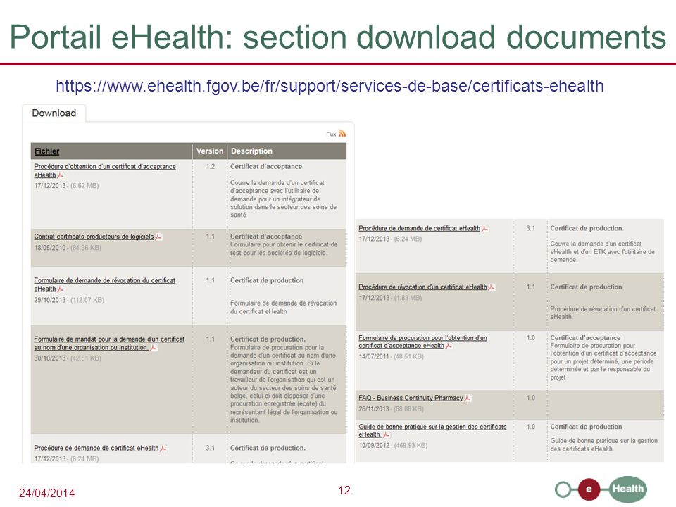Portail eHealth: section download documents