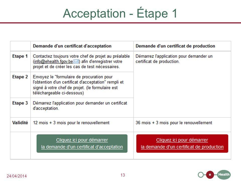 Acceptation - Étape 1