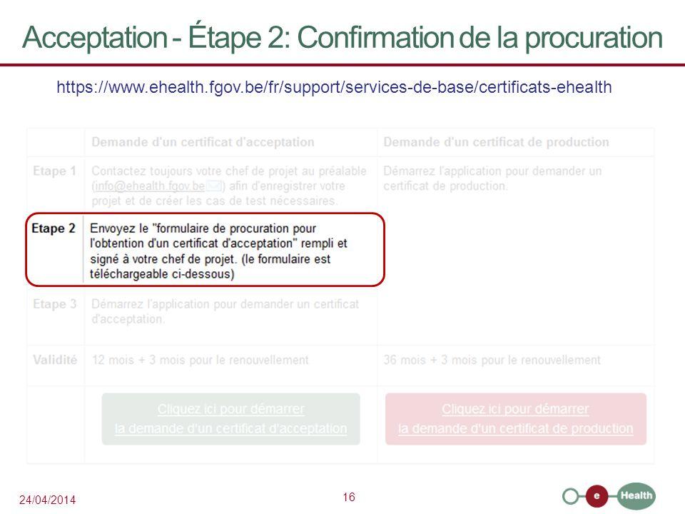 Acceptation - Étape 2: Confirmation de la procuration