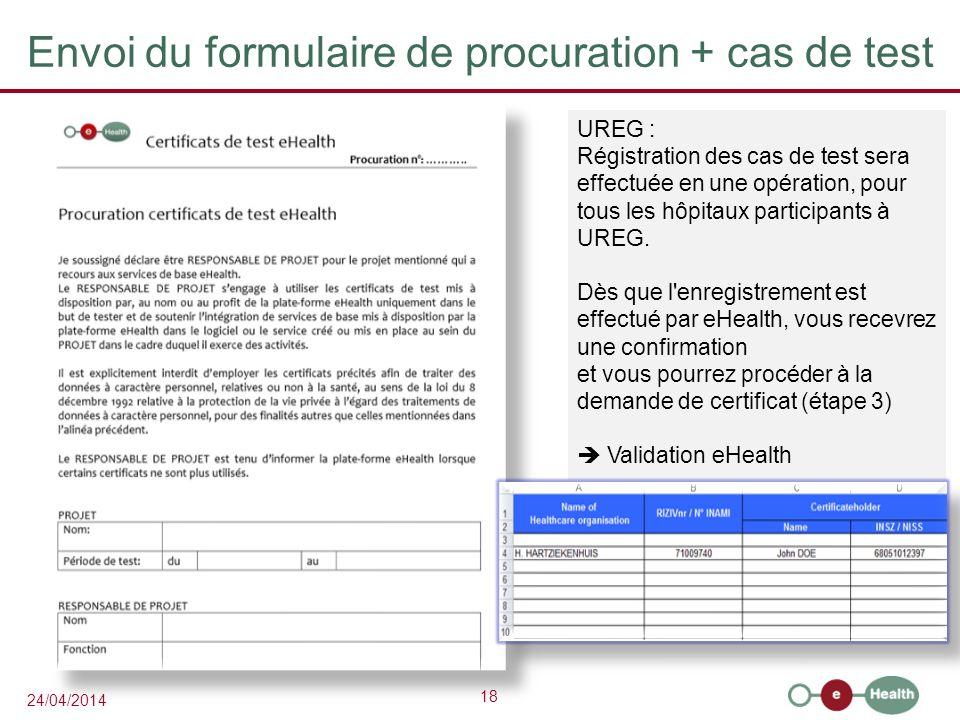Envoi du formulaire de procuration + cas de test