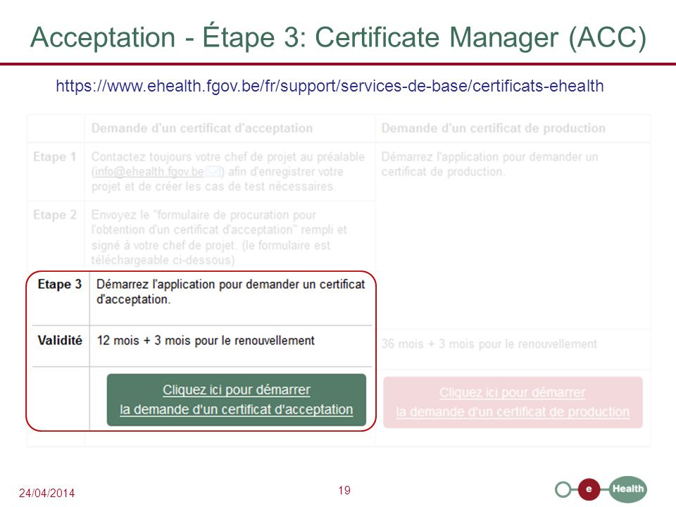 Acceptation - Étape 3: Certificate Manager (ACC)