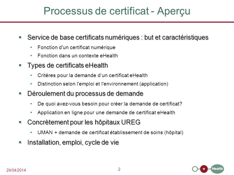 Processus de certificat - Aperçu