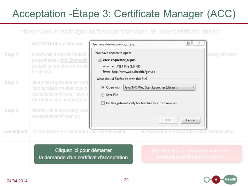 Acceptation -Étape 3: Certificate Manager (ACC)