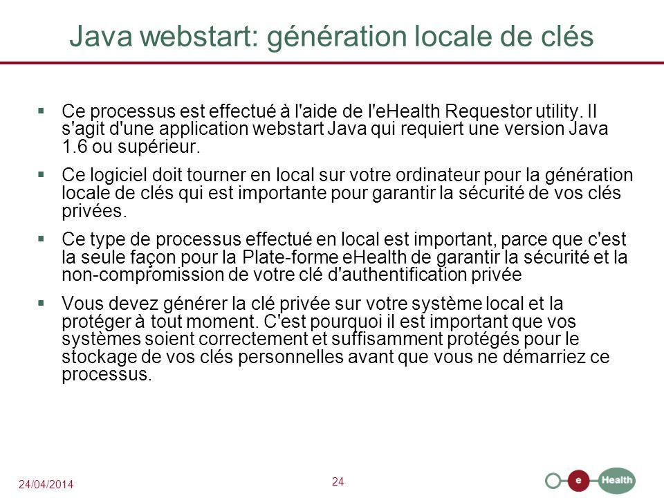 Java webstart: génération locale de clés