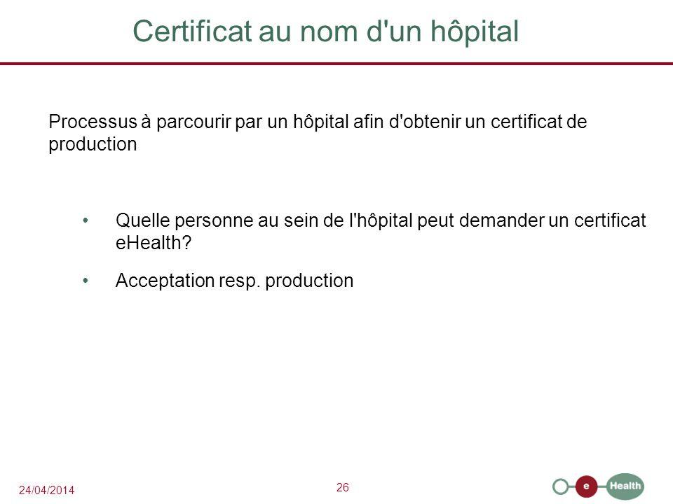 Certificat au nom d un hôpital