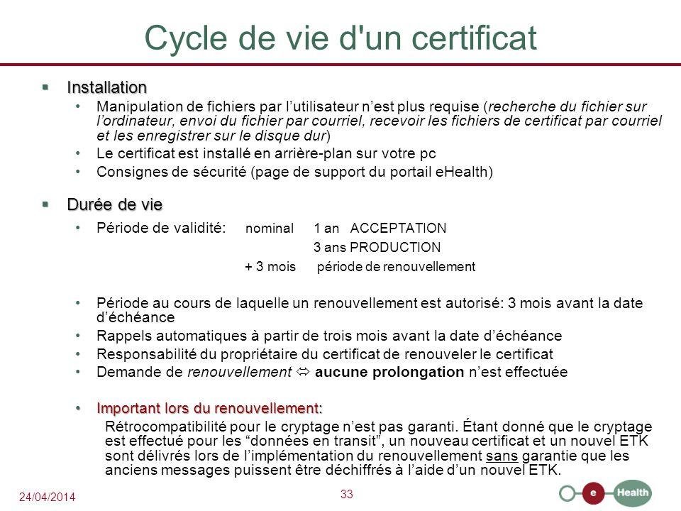 Cycle de vie d un certificat