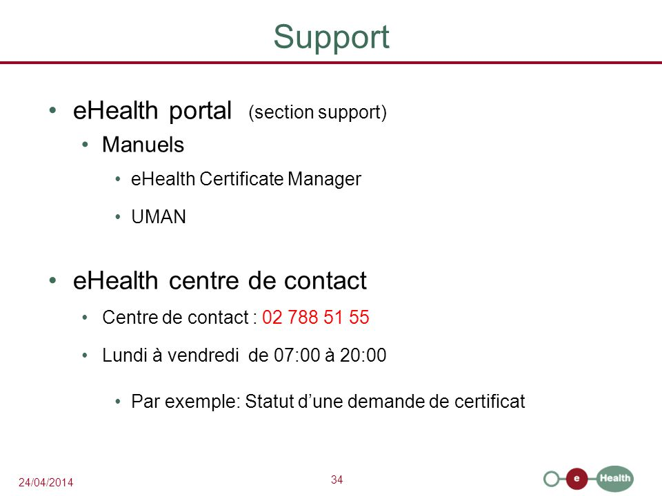 Support eHealth portal (section support) eHealth centre de contact