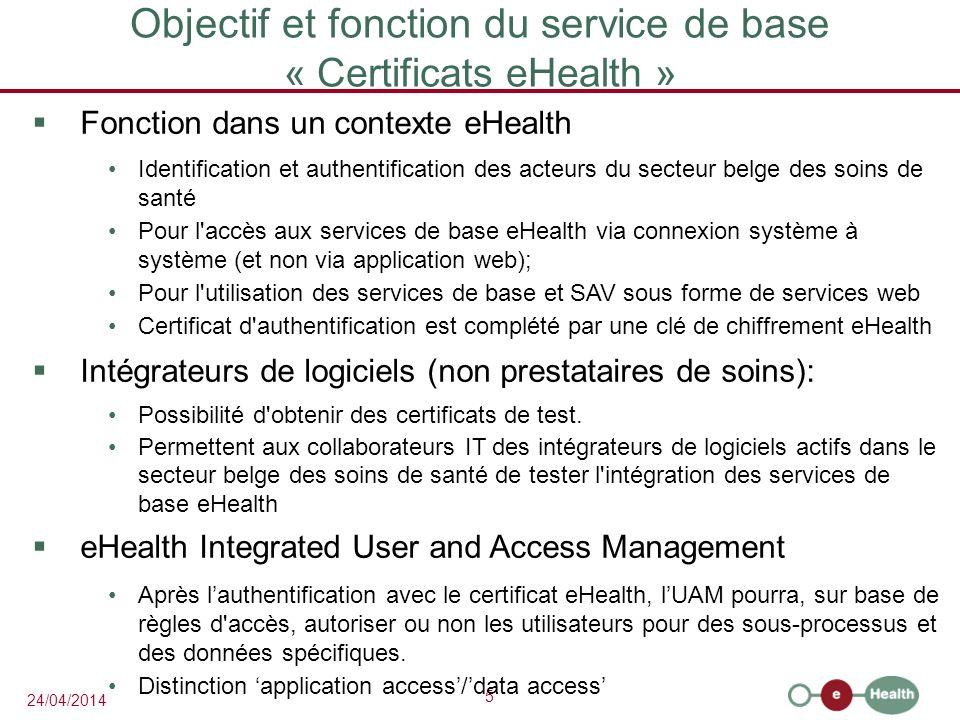 Objectif et fonction du service de base « Certificats eHealth »