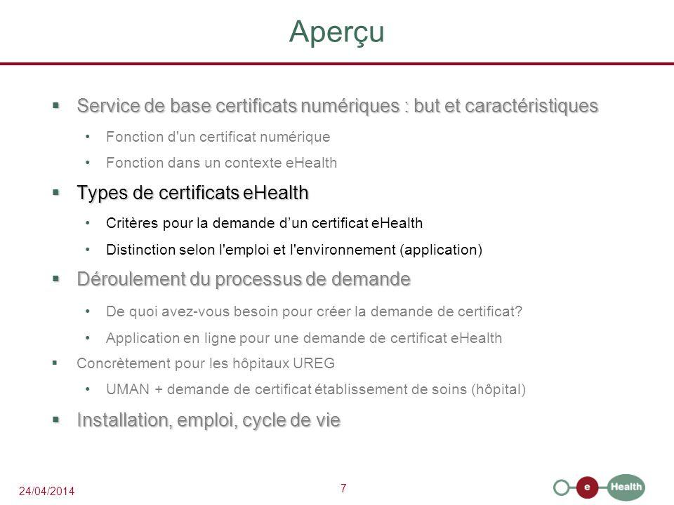 Aperçu Service de base certificats numériques : but et caractéristiques. Fonction d un certificat numérique.