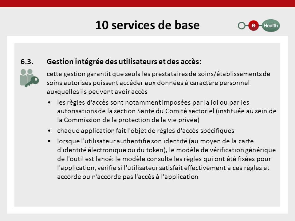 10 services de base 6.3. Gestion intégrée des utilisateurs et des accès:
