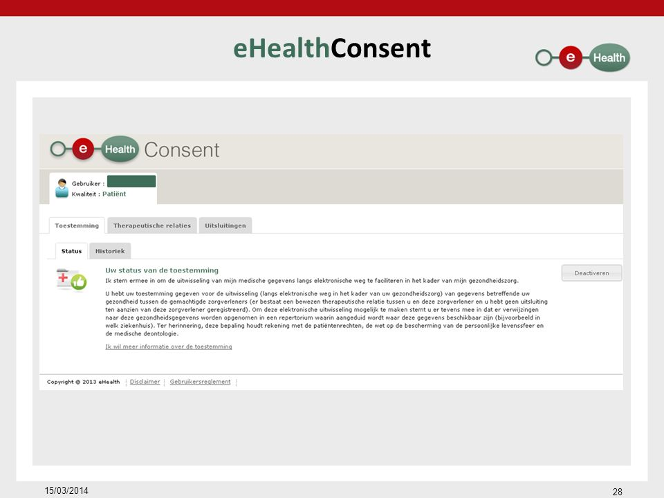 eHealthConsent 15/03/2014 28