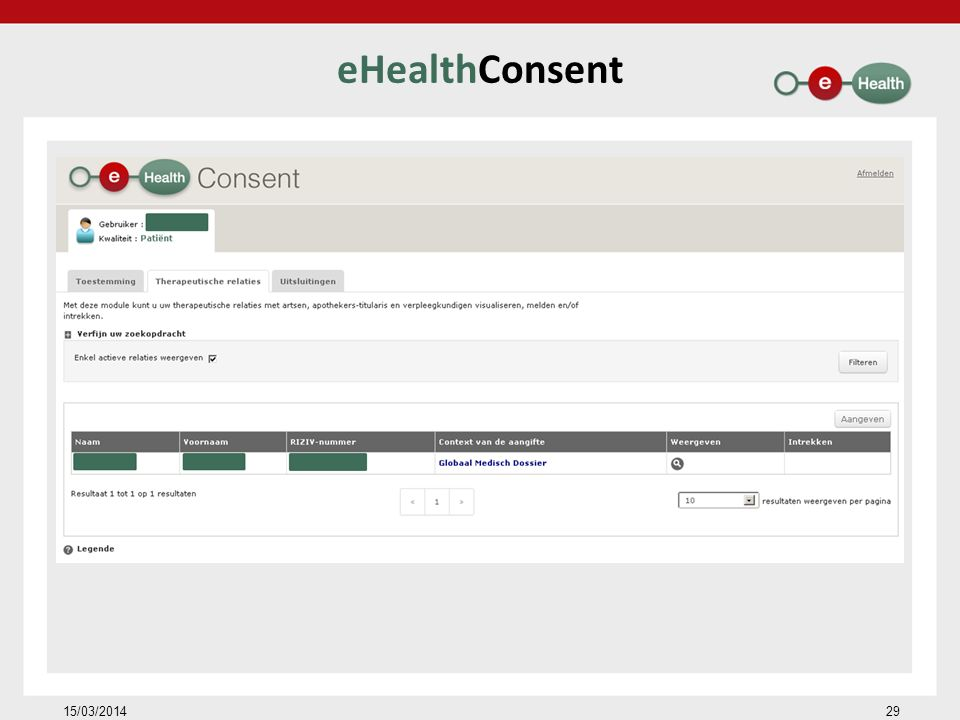 eHealthConsent 15/03/2014 29