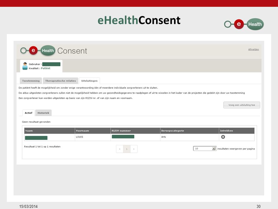eHealthConsent 15/03/2014 30