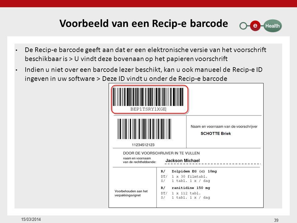 Voorbeeld van een Recip-e barcode