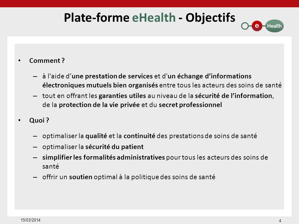Plate-forme eHealth - Objectifs