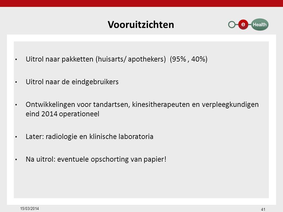 18/02/2014 41. Vooruitzichten. Uitrol naar pakketten (huisarts/ apothekers) (95% , 40%) Uitrol naar de eindgebruikers.