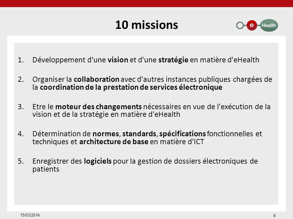 10 missions Développement d une vision et d une stratégie en matière d eHealth.