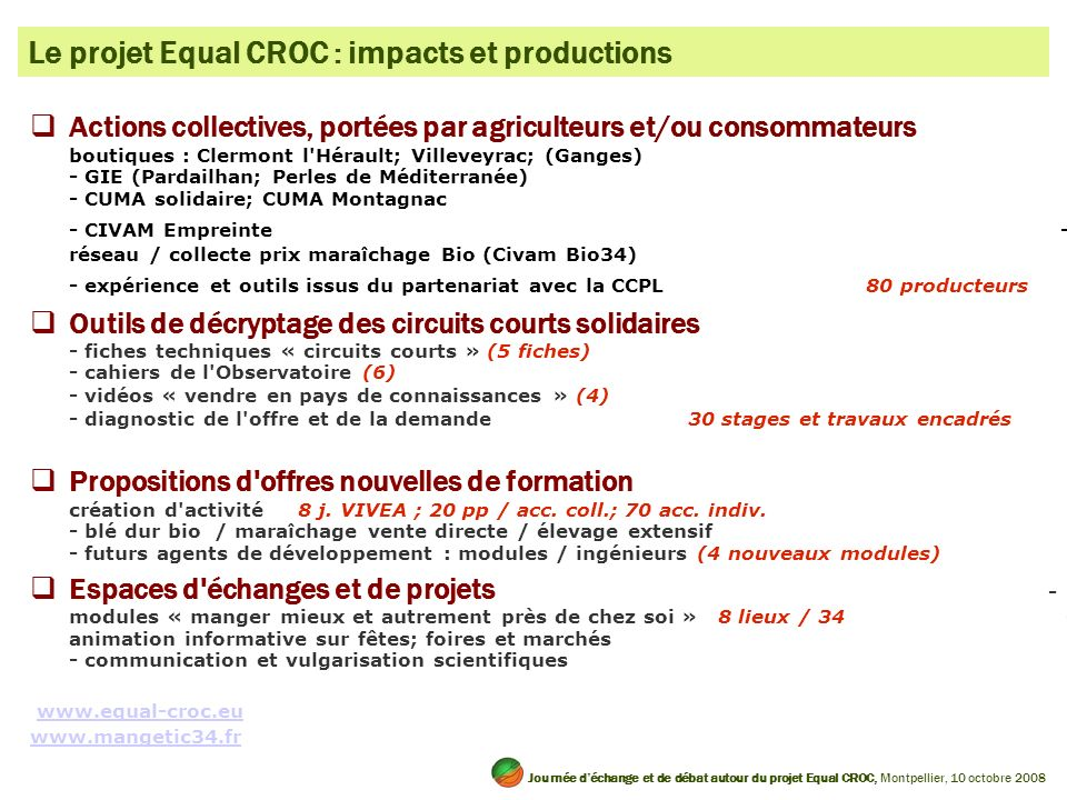 Le projet Equal CROC : impacts et productions