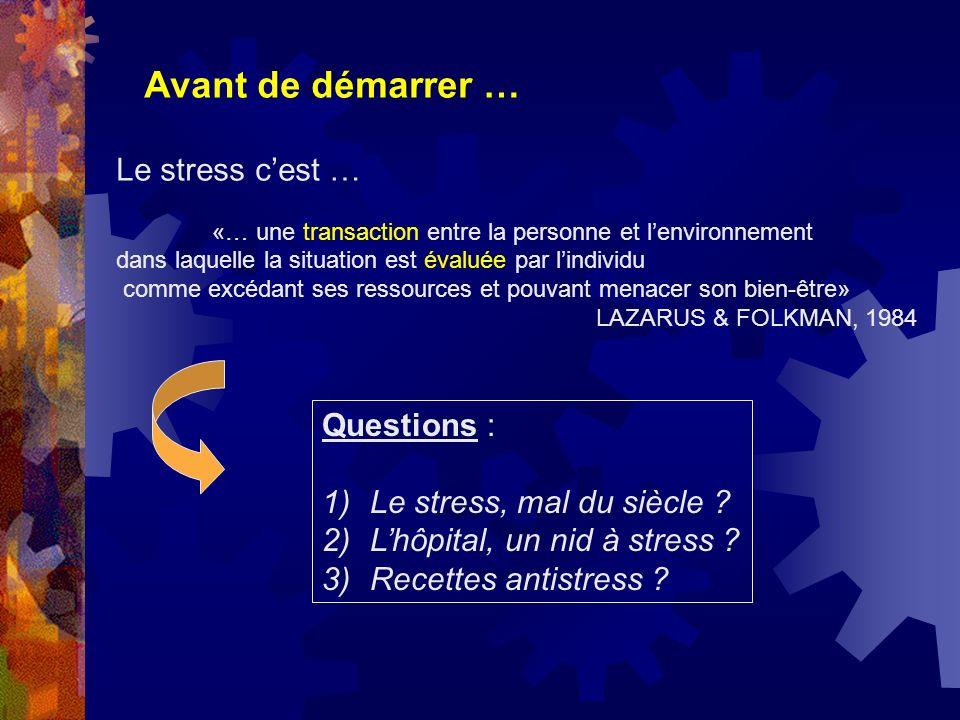 Avant de démarrer … Le stress c'est … Questions :