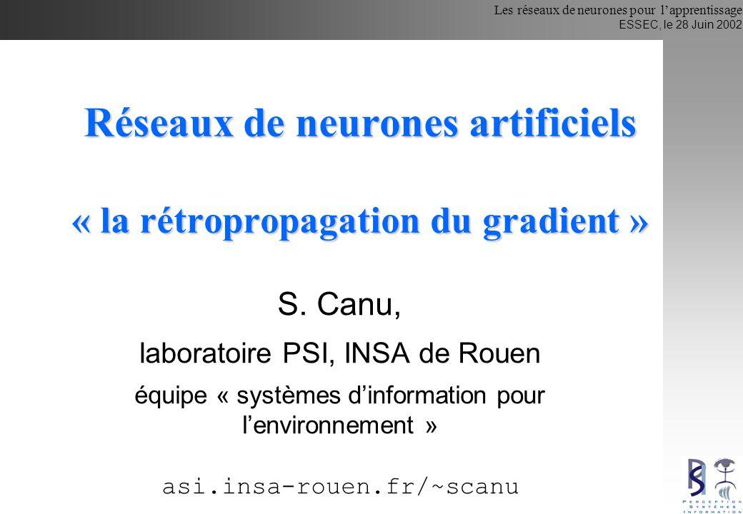 Réseaux de neurones artificiels « la rétropropagation du gradient »