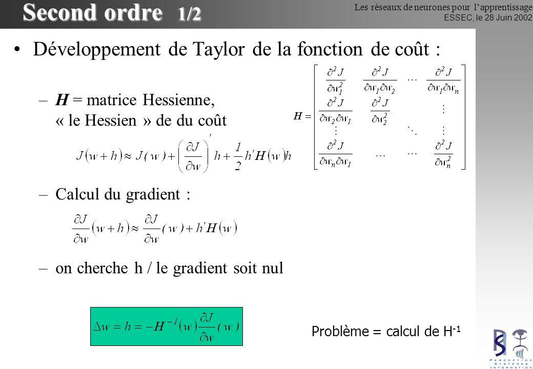 Second ordre 1/2 Développement de Taylor de la fonction de coût :