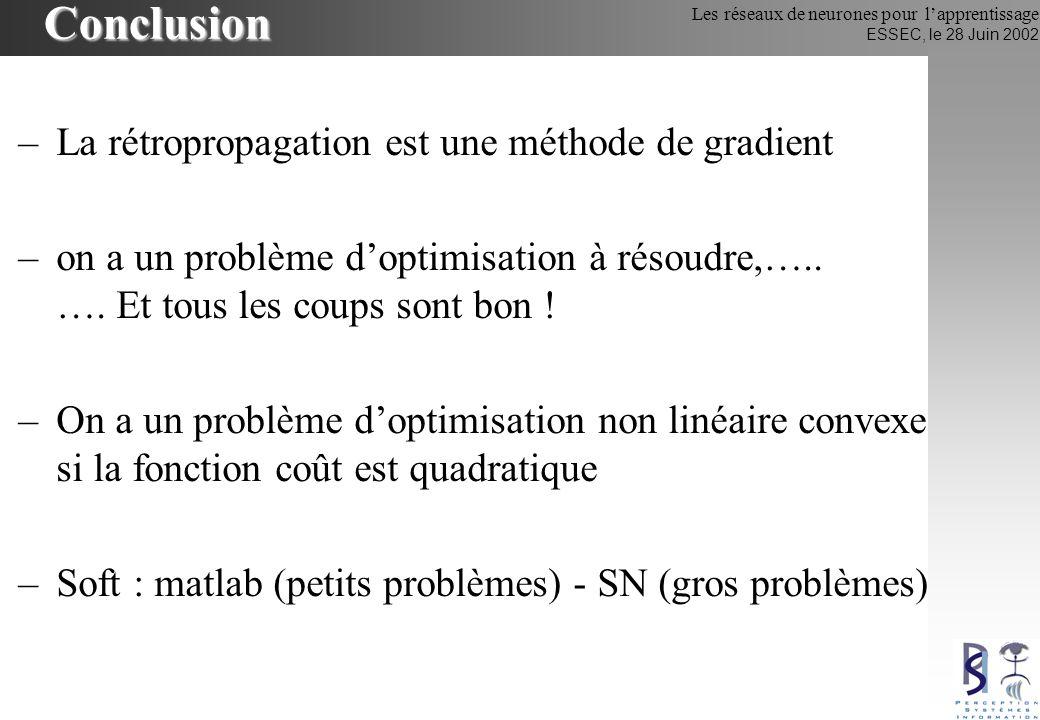 Conclusion La rétropropagation est une méthode de gradient
