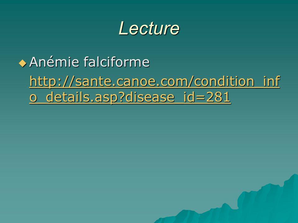 Lecture Anémie falciforme