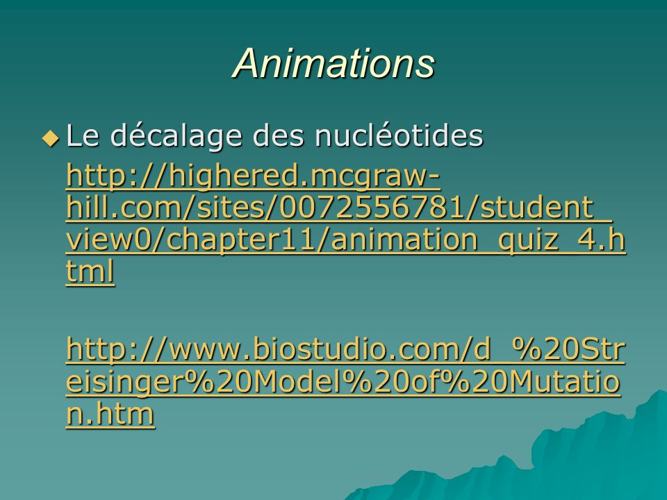 Animations Le décalage des nucléotides