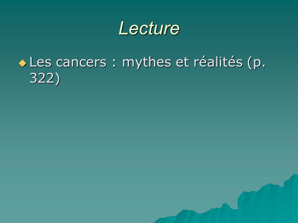 Lecture Les cancers : mythes et réalités (p. 322)