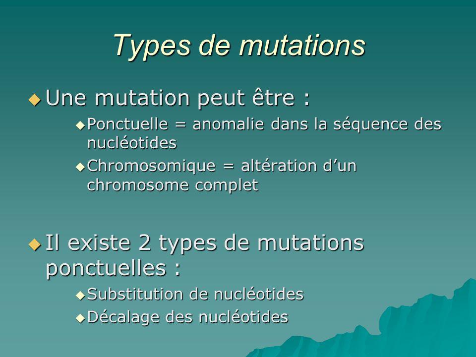 Types de mutations Une mutation peut être :
