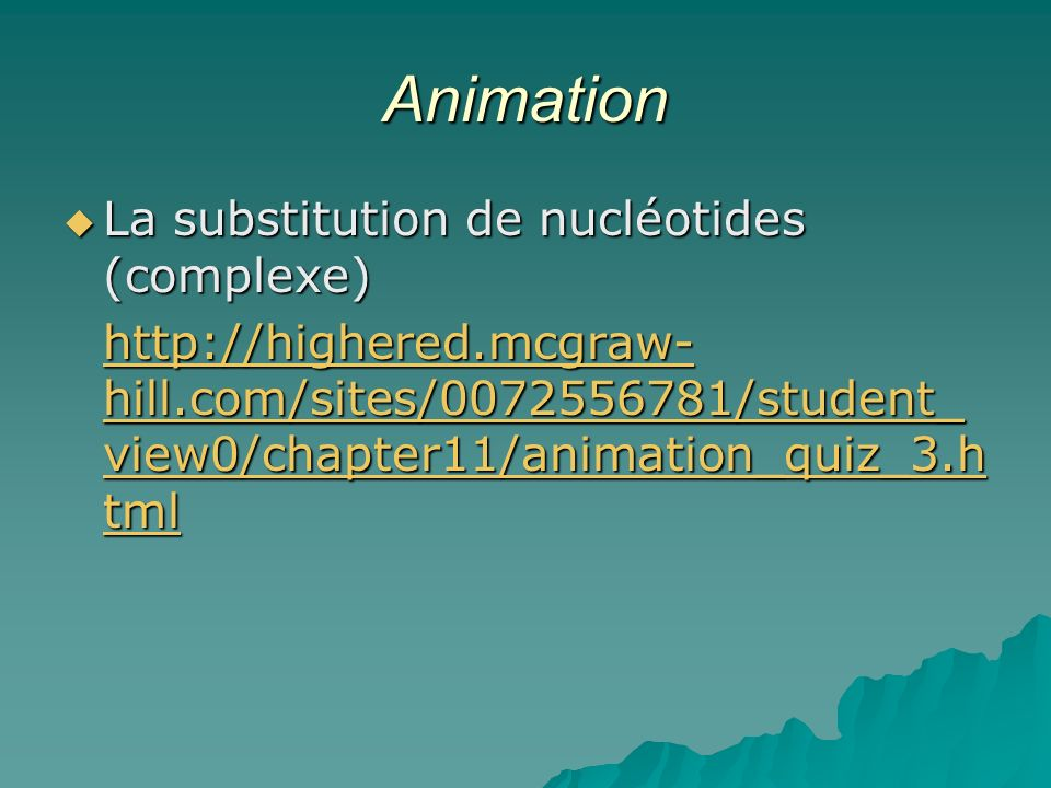 Animation La substitution de nucléotides (complexe)