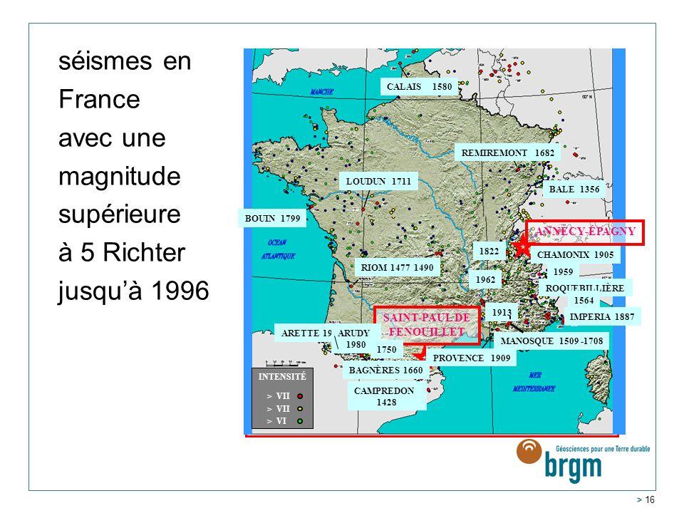 séismes en France avec une magnitude supérieure à 5 Richter