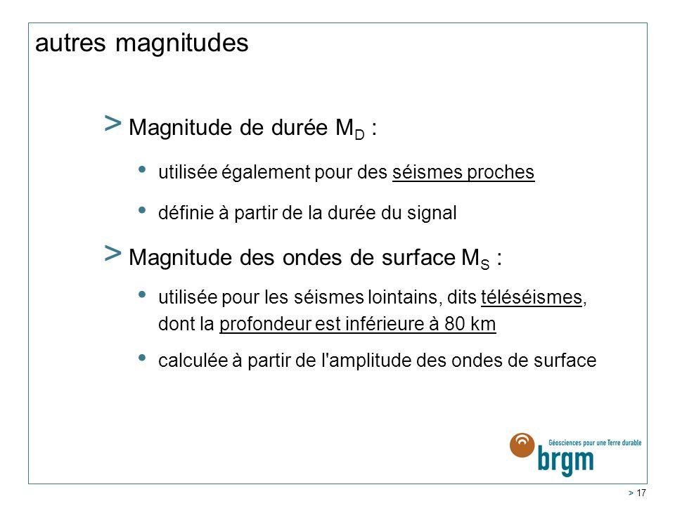 autres magnitudes Magnitude de durée MD :